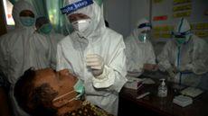 Salah seorang warga melakukan pemeriksaan Rapid Test Antigen di Kelurahan Tidore, Kabupaten Kepulauan Sangihe, Sulawesi Utara, Kamsi (15/10/2020). (Foto: ANTARA FOTO/Adwit B Pramono)